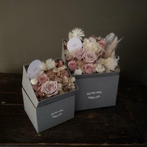 IMG_1 プリザーブドフラワーのBOXフラワー-Antique Pink-