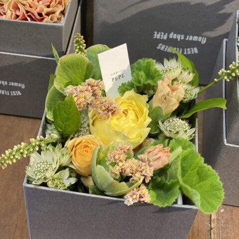 IMG_6 生花のBOXフラワーS-Yellow-